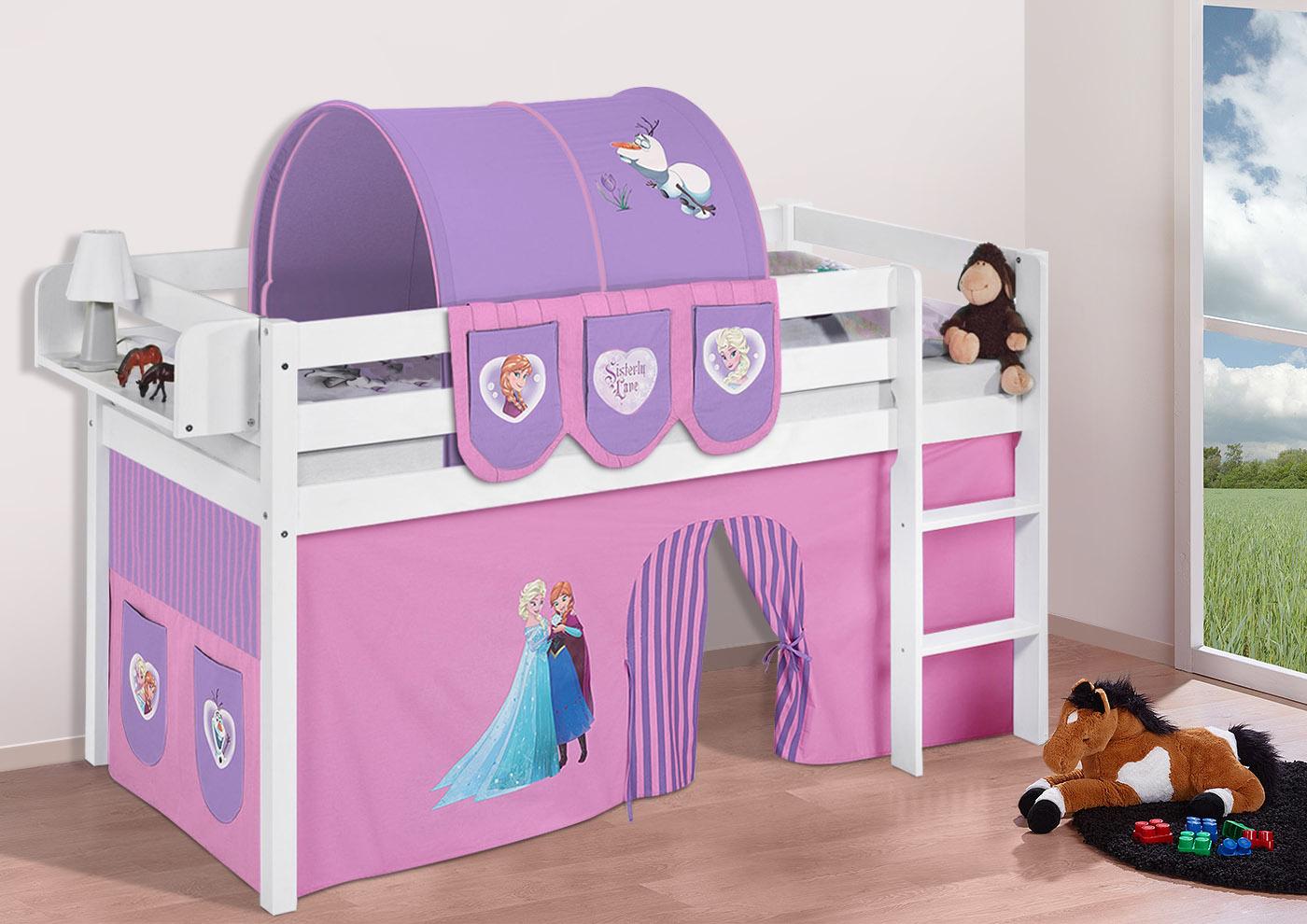 Spielbett hochbett kinderbett jelle buche massivholz vorhang lilokids ebay - Frozen vorhang hochbett ...