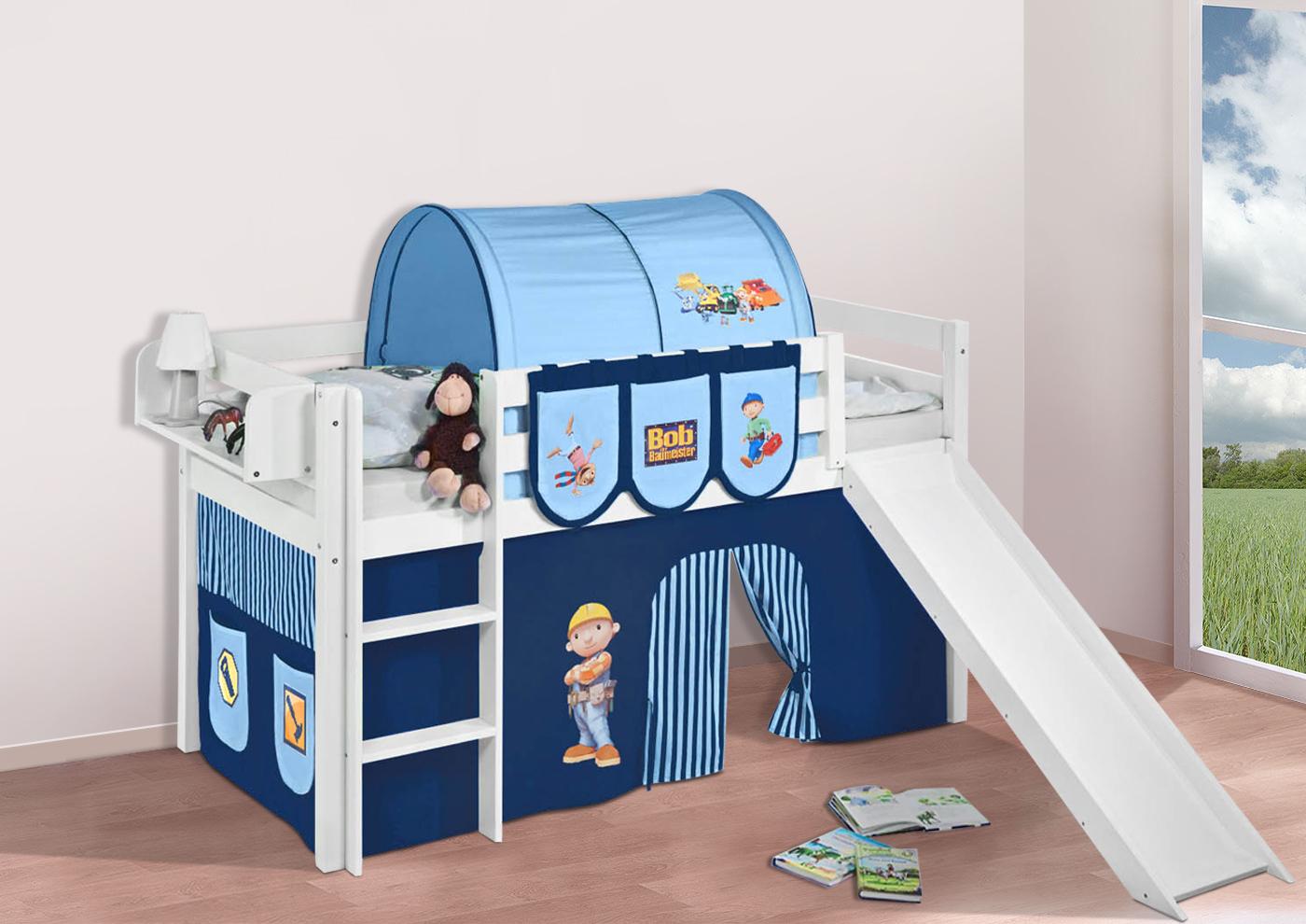 Spielbett hochbett kinderbett jelle mit rutsche buche for Frozen vorhang hochbett