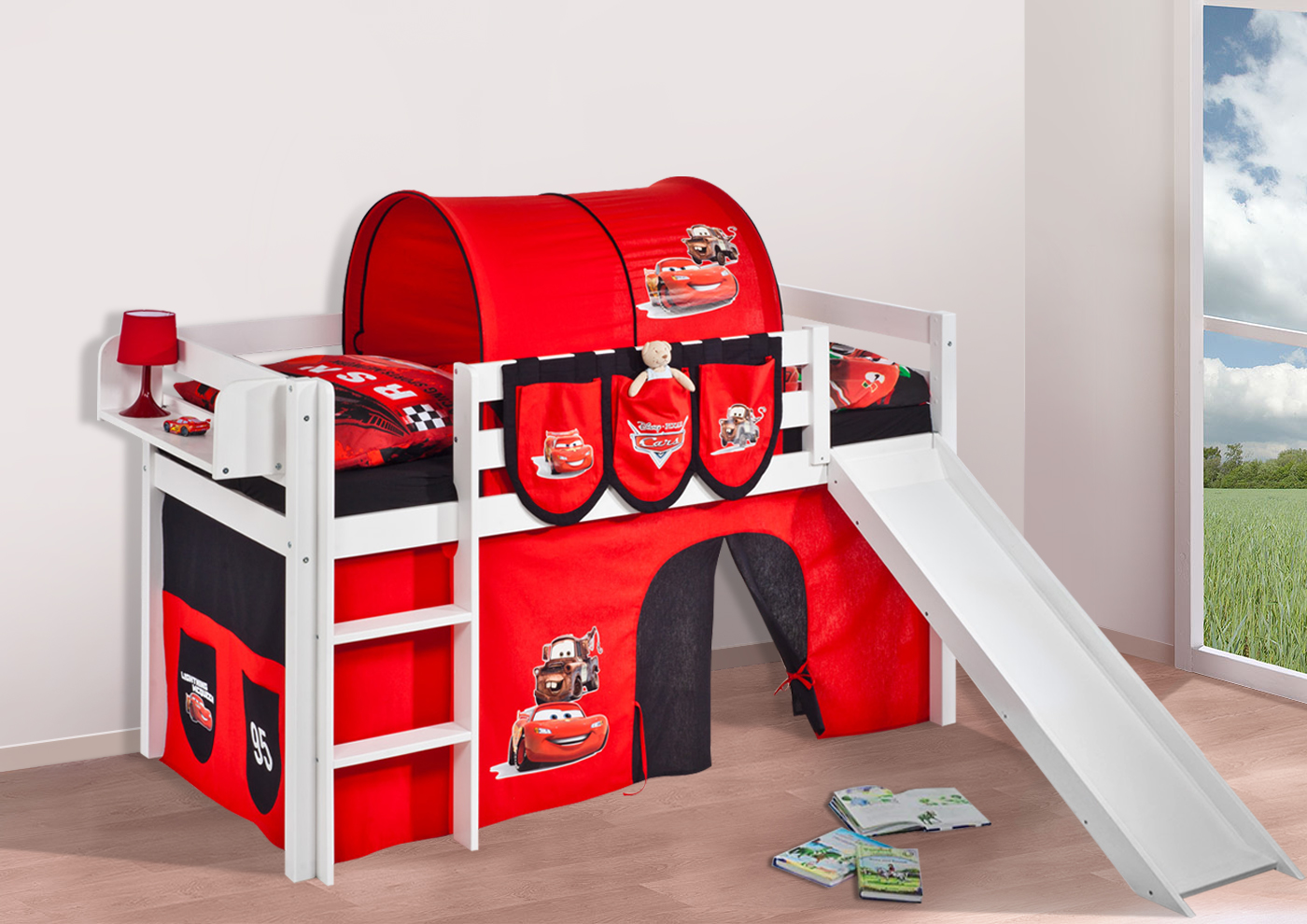 spielbett hochbett kinderbett jelle mit rutsche buche. Black Bedroom Furniture Sets. Home Design Ideas