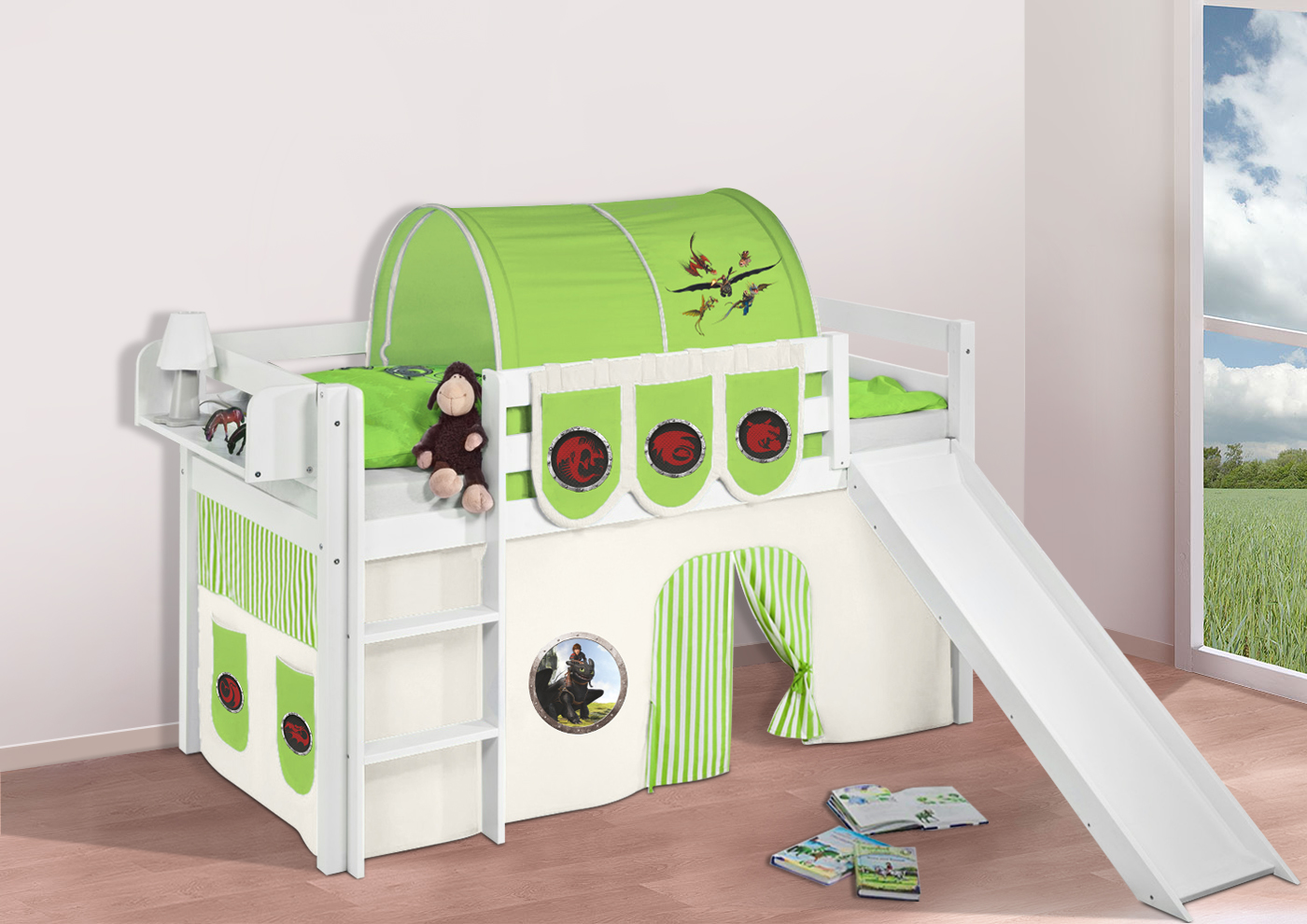 Spielbett-Hochbett-Kinderbett-Jelle-mit-Rutsche-BUCHE-Massivholz ...