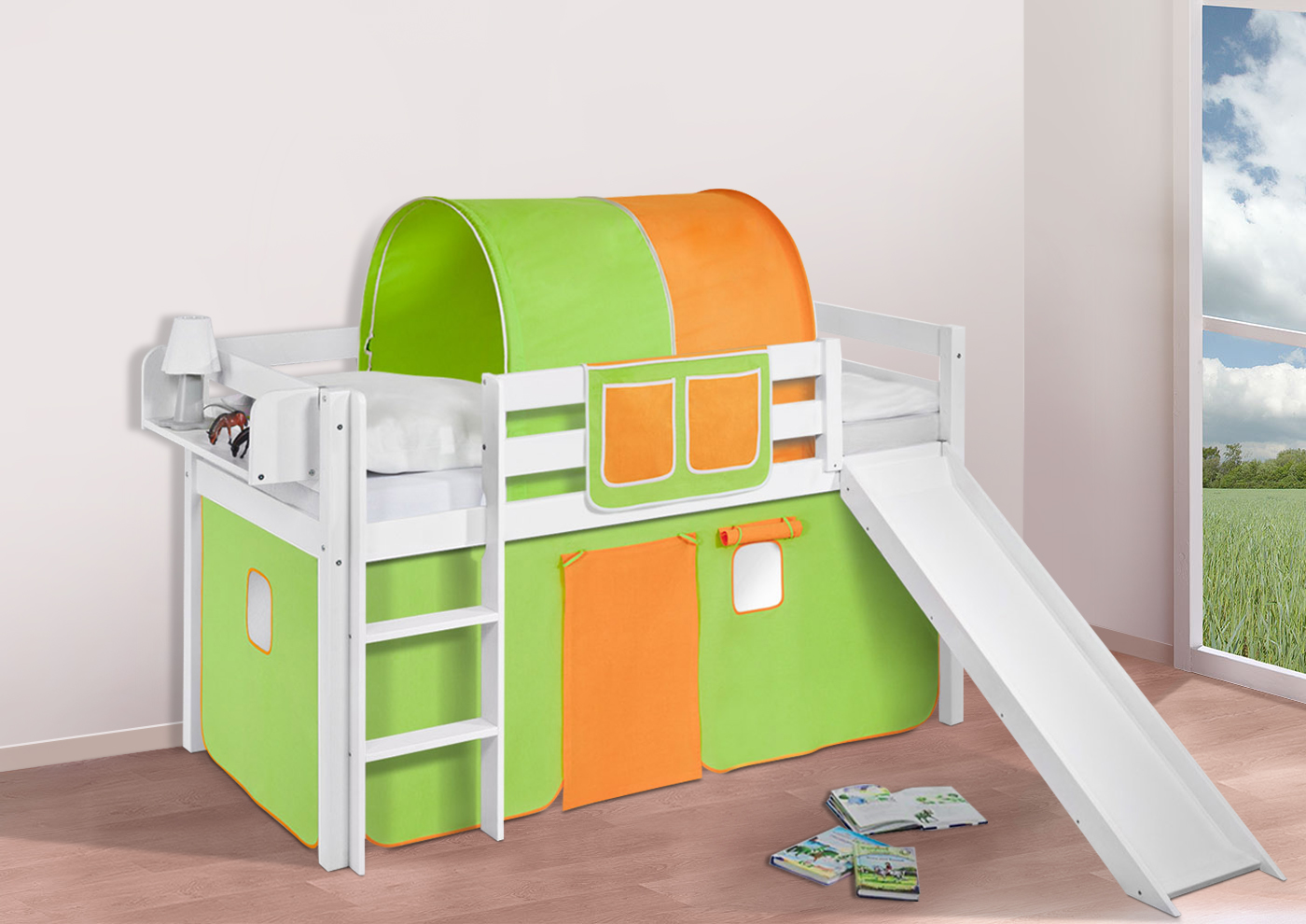 spielbett hochbett kinderbett jelle mit rutsche buche massivholz vorhang ebay. Black Bedroom Furniture Sets. Home Design Ideas