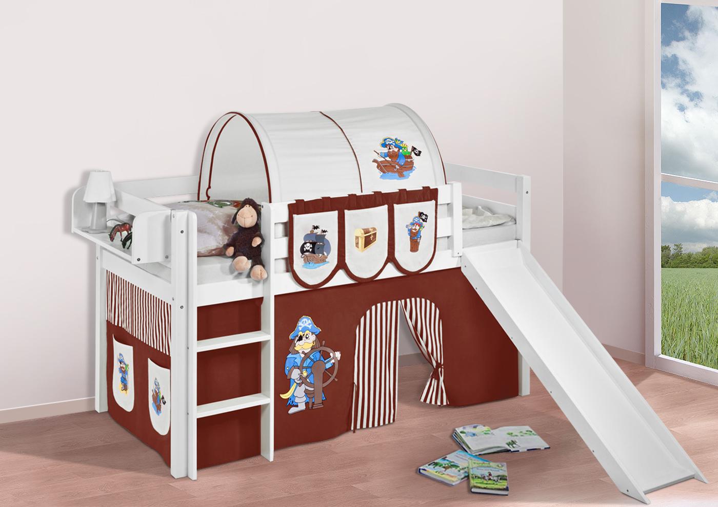 Spielbett hochbett kinderbett jelle mit rutsche buche massivholz vorhang ebay - Hochbett vorhang frozen ...