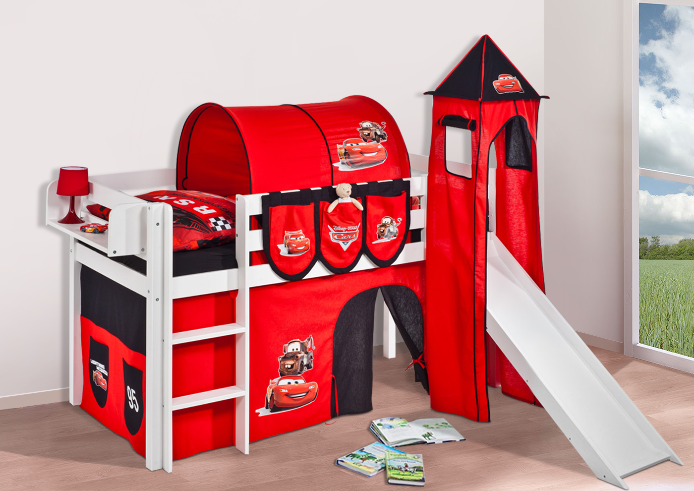 spielbett hochbett kinderbett jelle mit turm rutsche. Black Bedroom Furniture Sets. Home Design Ideas
