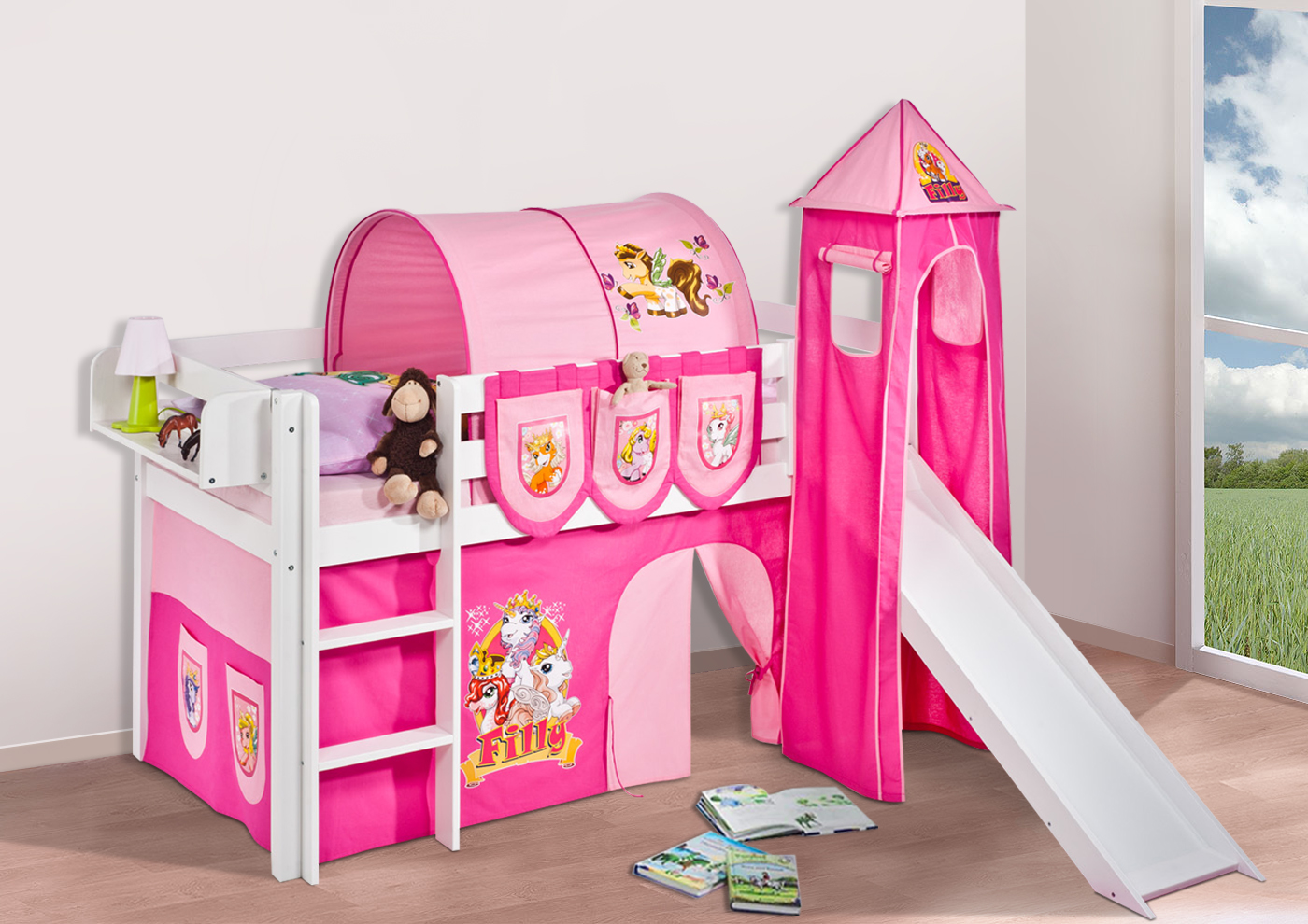 spielbett hochbett kinderbett jelle mit turm rutsche buche massivholz lilokids ebay. Black Bedroom Furniture Sets. Home Design Ideas