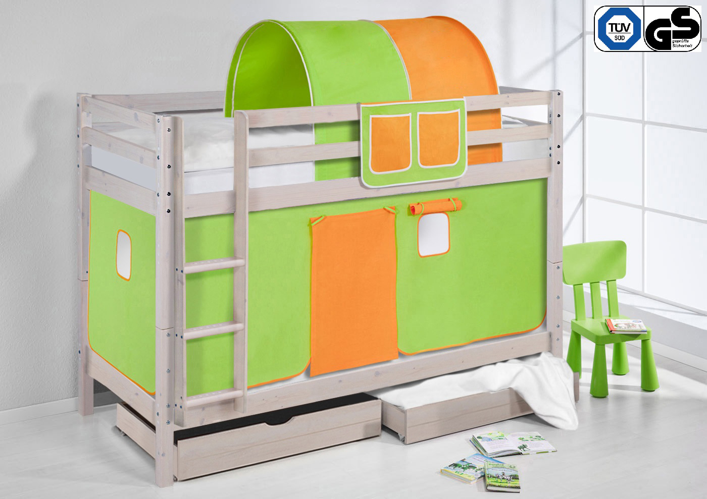 etagenbett hochbett kinder bett aus kiefer nele wei vorhang t v gs gepr ft ebay. Black Bedroom Furniture Sets. Home Design Ideas