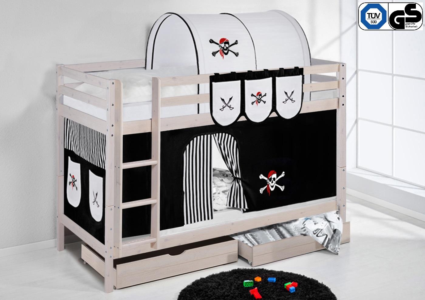 etagenbett hochbett kinder bett aus kiefer nele wei vorhang t v gs gepr ft ebay. Black Bedroom Furniture Sets. Home Design Ideas