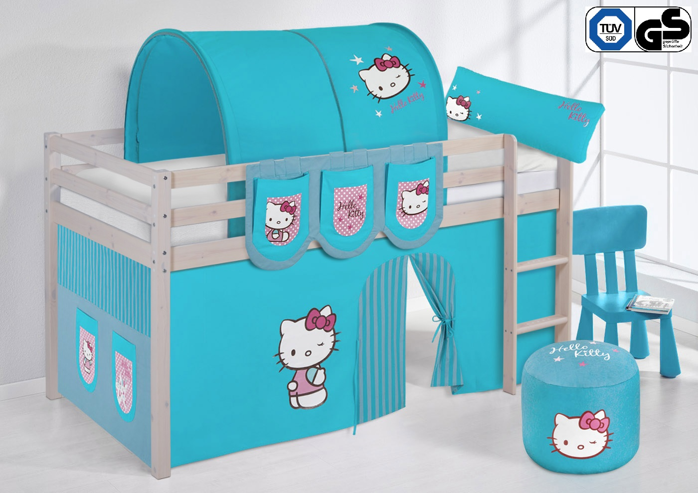 spielbett hochbett kinderbett kinder bett nele kiefer vorhang t v gs gepr ft ebay. Black Bedroom Furniture Sets. Home Design Ideas