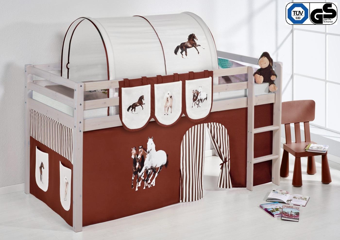 spielbett hochbett kinderbett kinder bett nele kiefer vorhang t v gs gepr ft ebay. Black Bedroom Furniture Sets. Home Design Ideas