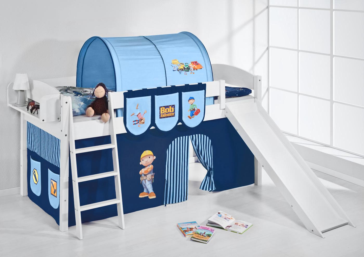 spielbett hochbett etagenbett massiv mit rutsche neu 4105 lilokids ebay. Black Bedroom Furniture Sets. Home Design Ideas