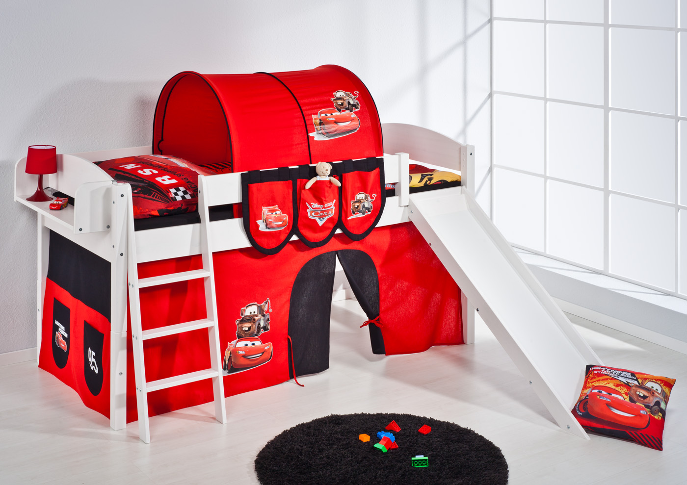 spielbett hochbett kinderbett kinder bett mit rutsche umbaubar einzelbett 4105 ebay. Black Bedroom Furniture Sets. Home Design Ideas