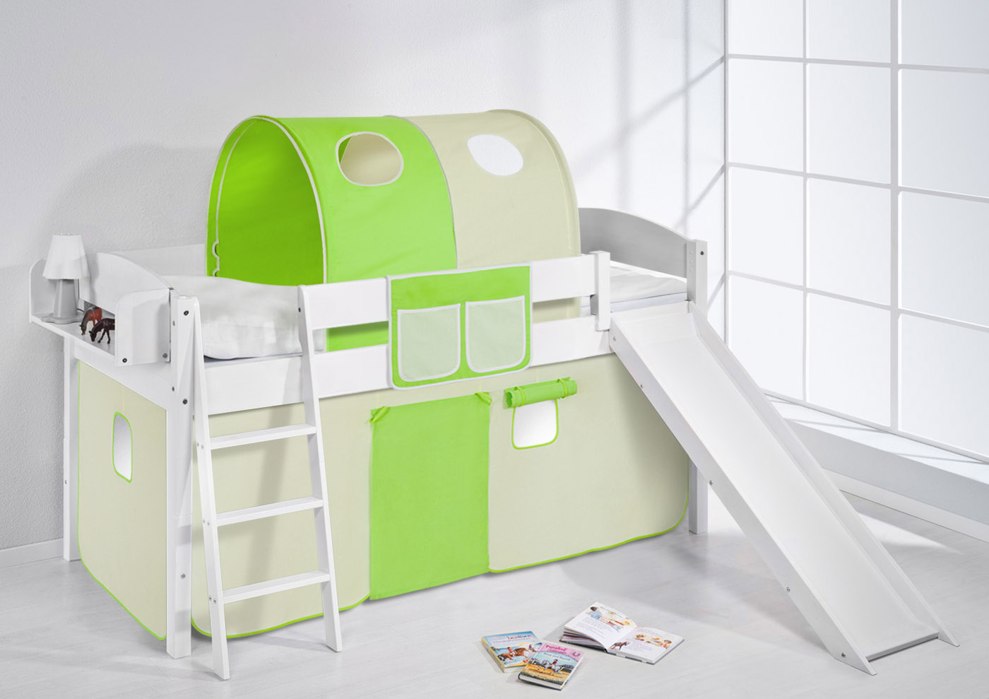 spielbett hochbett etagenbett massiv mit rutsche neu 4105. Black Bedroom Furniture Sets. Home Design Ideas
