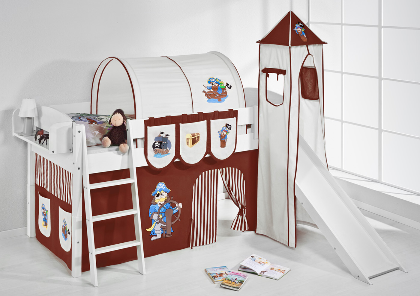 spielbett hochbett kinderbett kinder bett mit turm und rutsche 4105 ebay. Black Bedroom Furniture Sets. Home Design Ideas