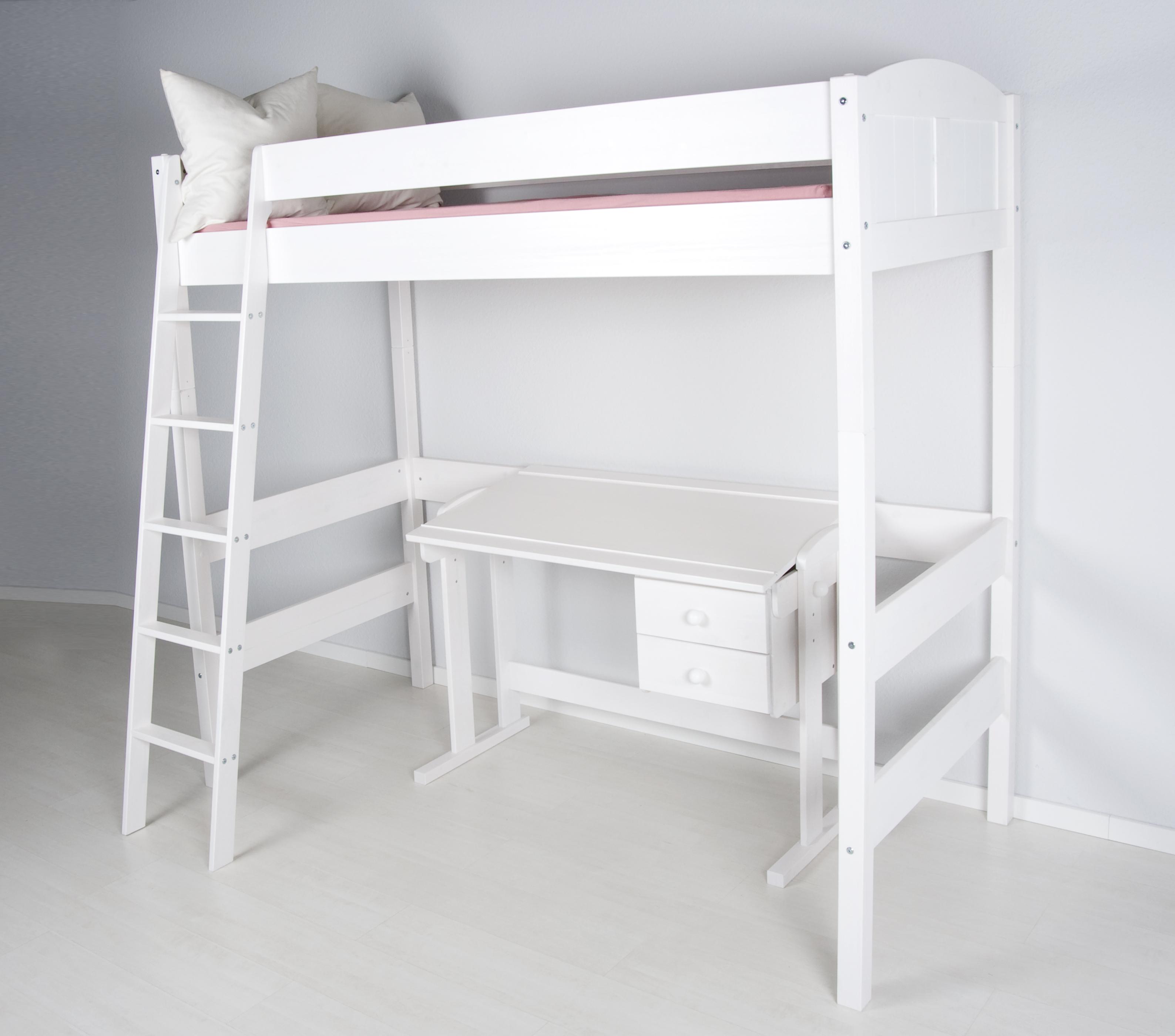 spielbett hochbett kinderbett ida weiss extra hoch 180 cm. Black Bedroom Furniture Sets. Home Design Ideas