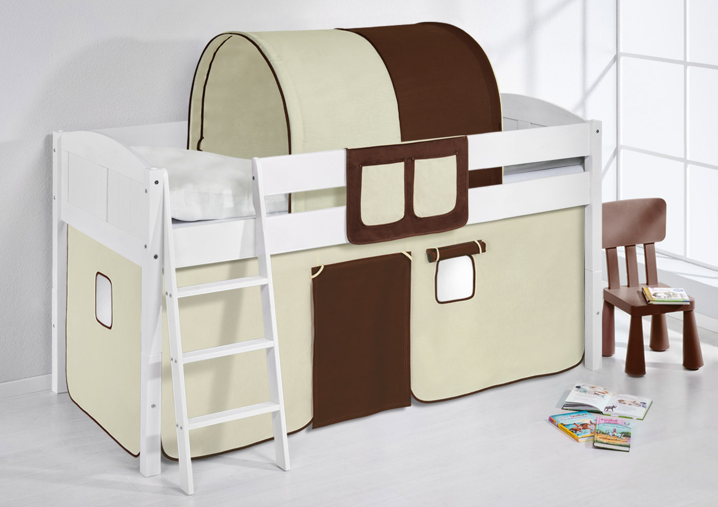 spielbett hochbett kinderbett kinder bett umbaubar zum einzelbett 4106. Black Bedroom Furniture Sets. Home Design Ideas