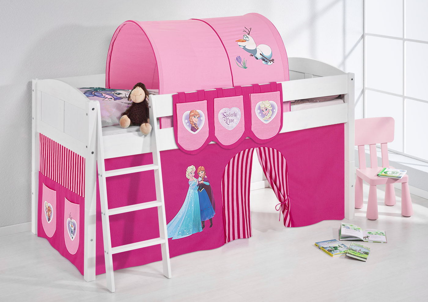spielbett hochbett kinderbett kinder bett umbaubar zum einzelbett 4106 ebay. Black Bedroom Furniture Sets. Home Design Ideas