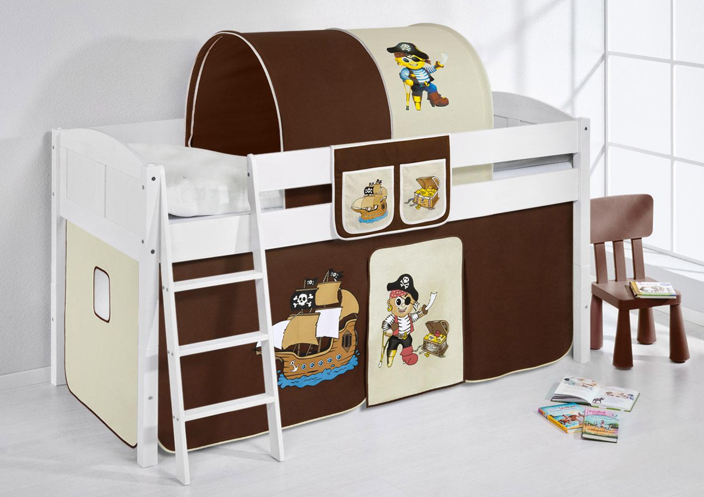spielbett hochbett kinderbett bett umbaubar zum einzelbett inkl vorhang ebay. Black Bedroom Furniture Sets. Home Design Ideas