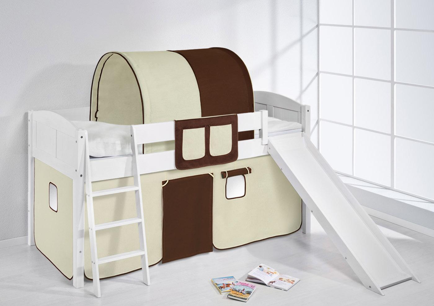 childrens cabin bed midsleeper with slide 4106 by lilokids. Black Bedroom Furniture Sets. Home Design Ideas