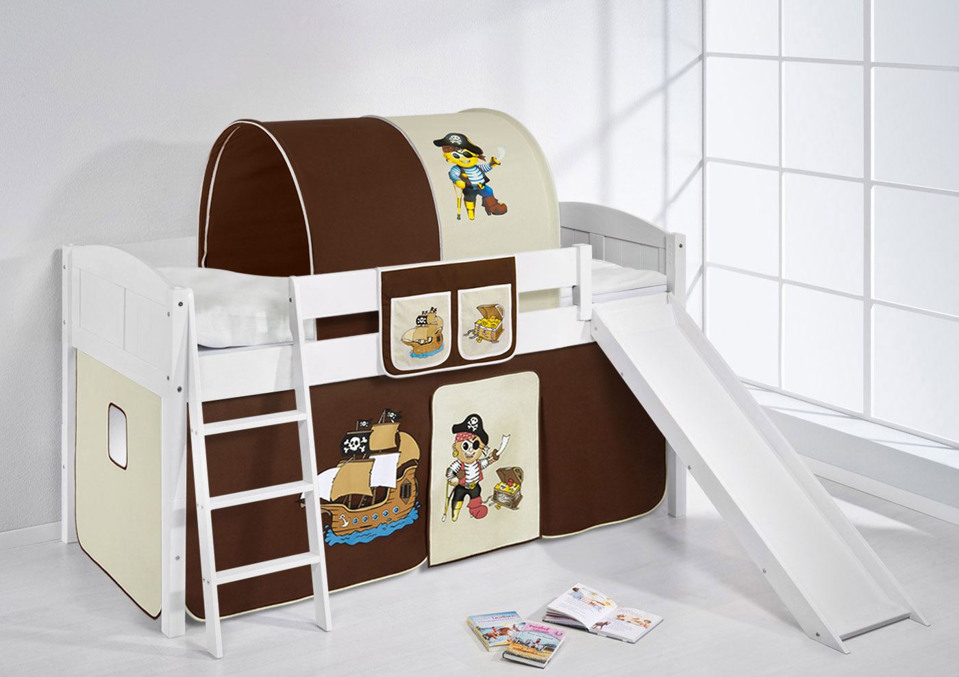 spielbett hochbett kinderbett kinder bett mit rutsche umbaubar einzelbett 4106 ebay. Black Bedroom Furniture Sets. Home Design Ideas