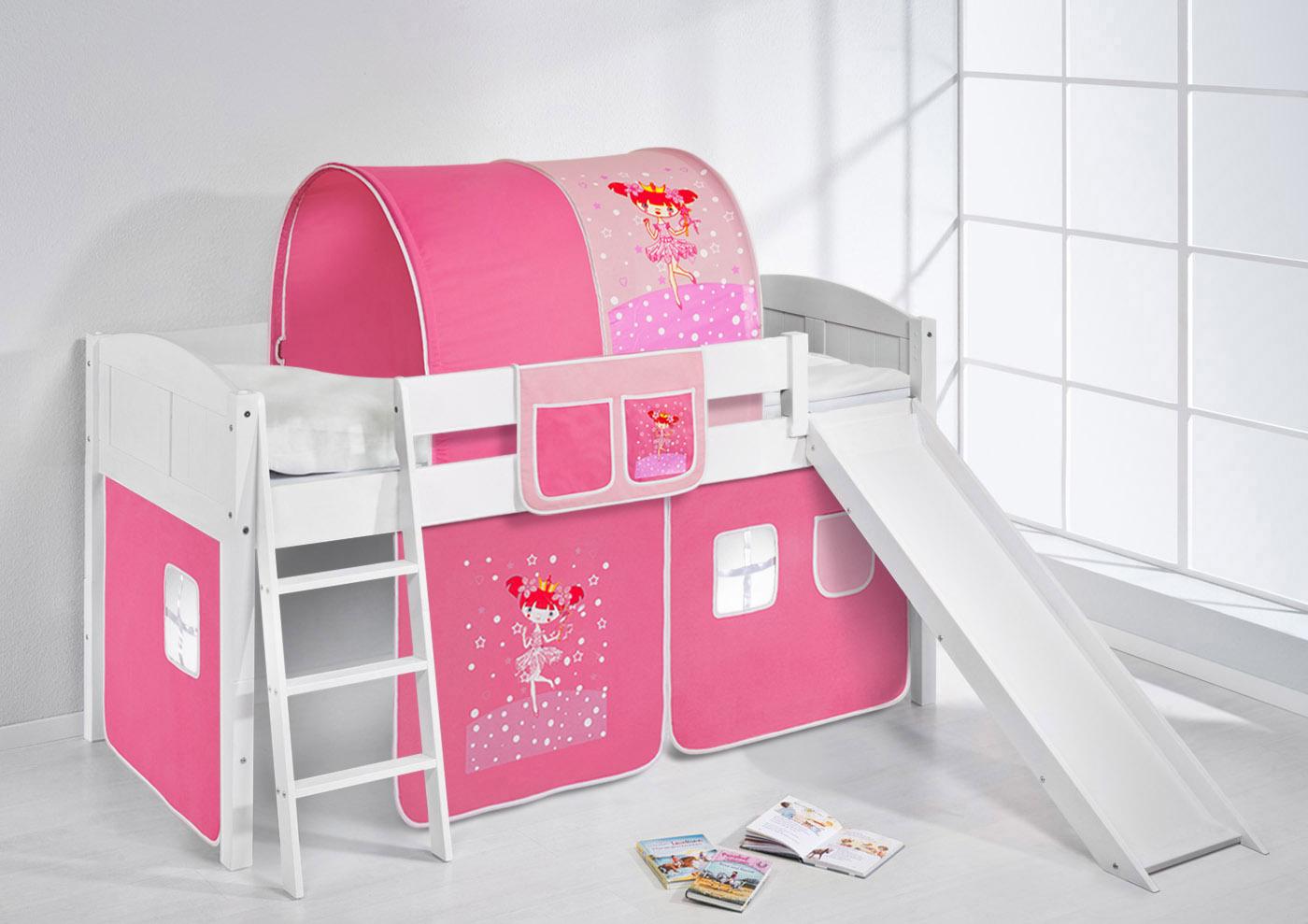 Einzelbett kinder  Spielbett Hochbett Kinderbett Kinder Bett mit Rutsche umbaubar ...