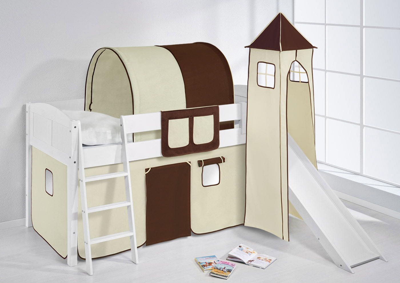 CHILDRENS CABIN BED MIDSLEEPER WITH TOWER + SLIDE 4106 BY LILOKIDS ...