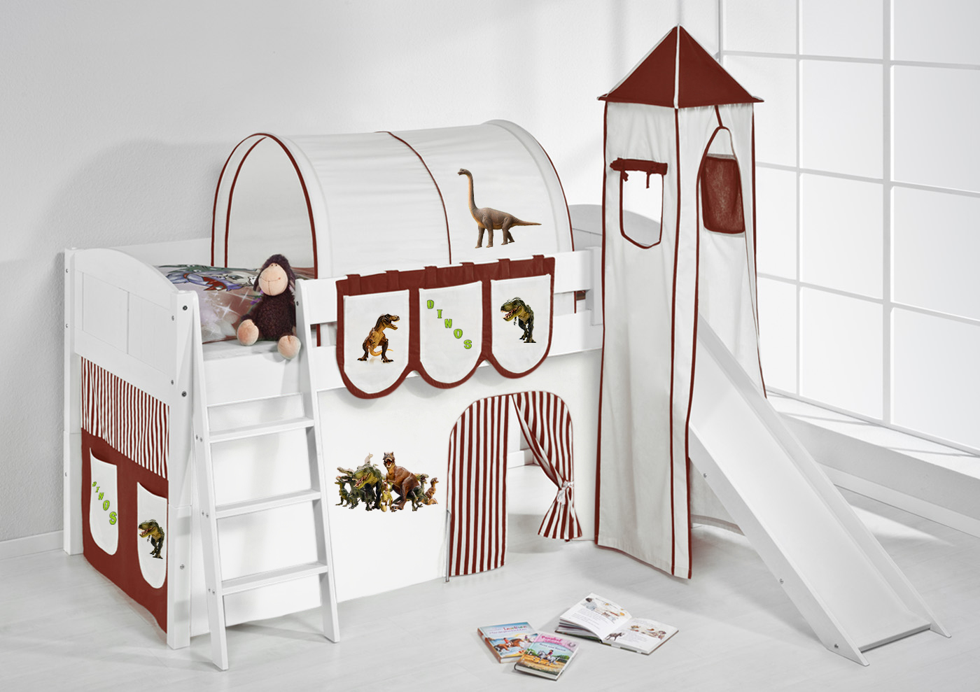 spielbett hochbett kinderbett kinder bett mit turm und rutsche 4106 ebay. Black Bedroom Furniture Sets. Home Design Ideas