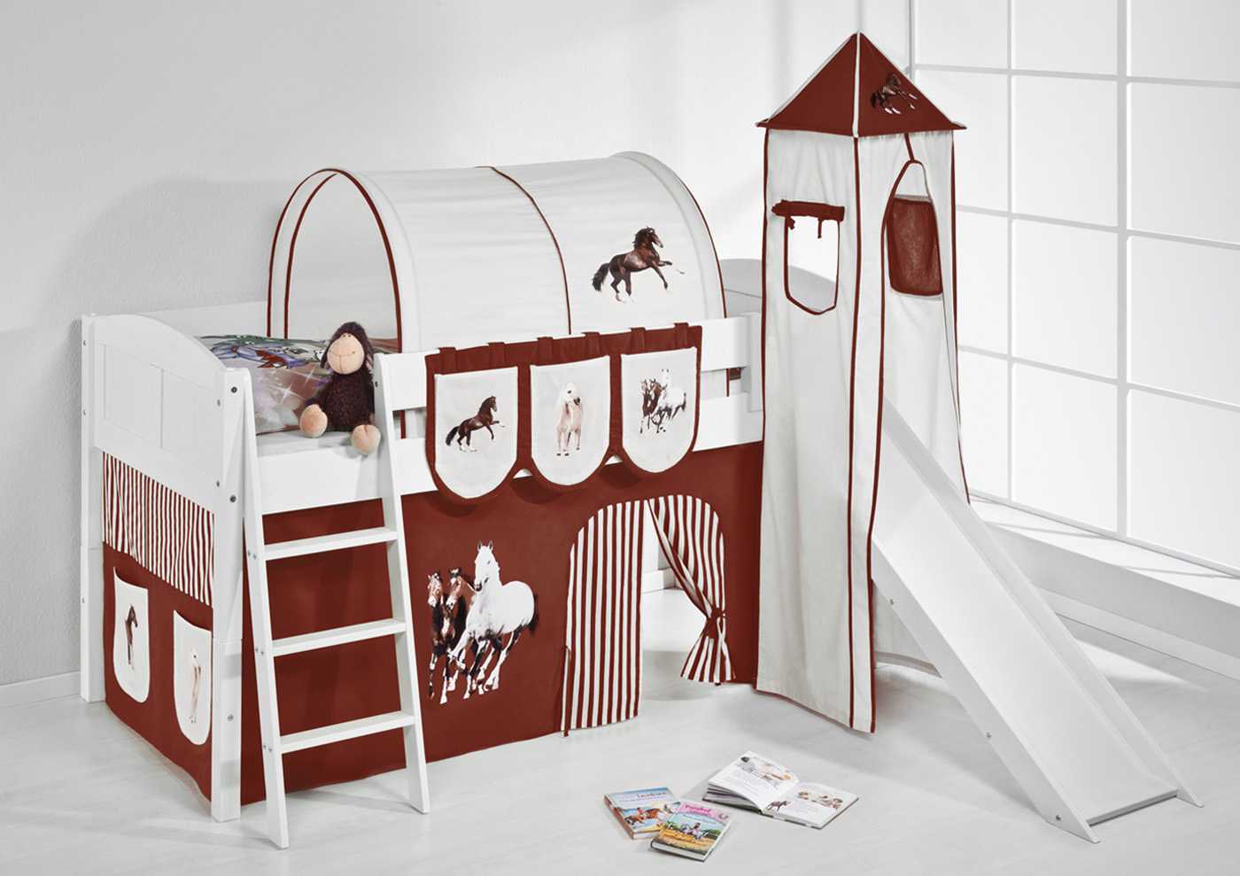 spielbett hochbett kinderbett kinder bett mit turm und rutsche 4106. Black Bedroom Furniture Sets. Home Design Ideas
