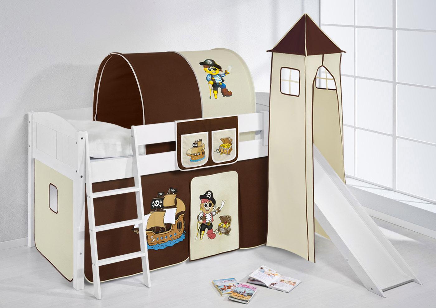 spielbett hochbett kinderbett kinder bett mit turm und rutsche 4106 ebay. Black Bedroom Furniture Sets. Home Design Ideas
