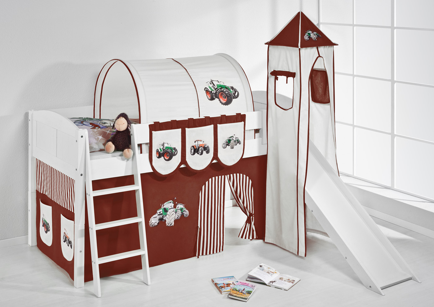 spielbett hochbett kinderbett kinder bett mit turm und. Black Bedroom Furniture Sets. Home Design Ideas