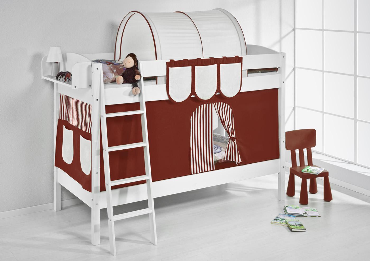 Etagenbett Hochbett Kinder Bett Aus Massiver Kiefer Ida 4105 Weiss