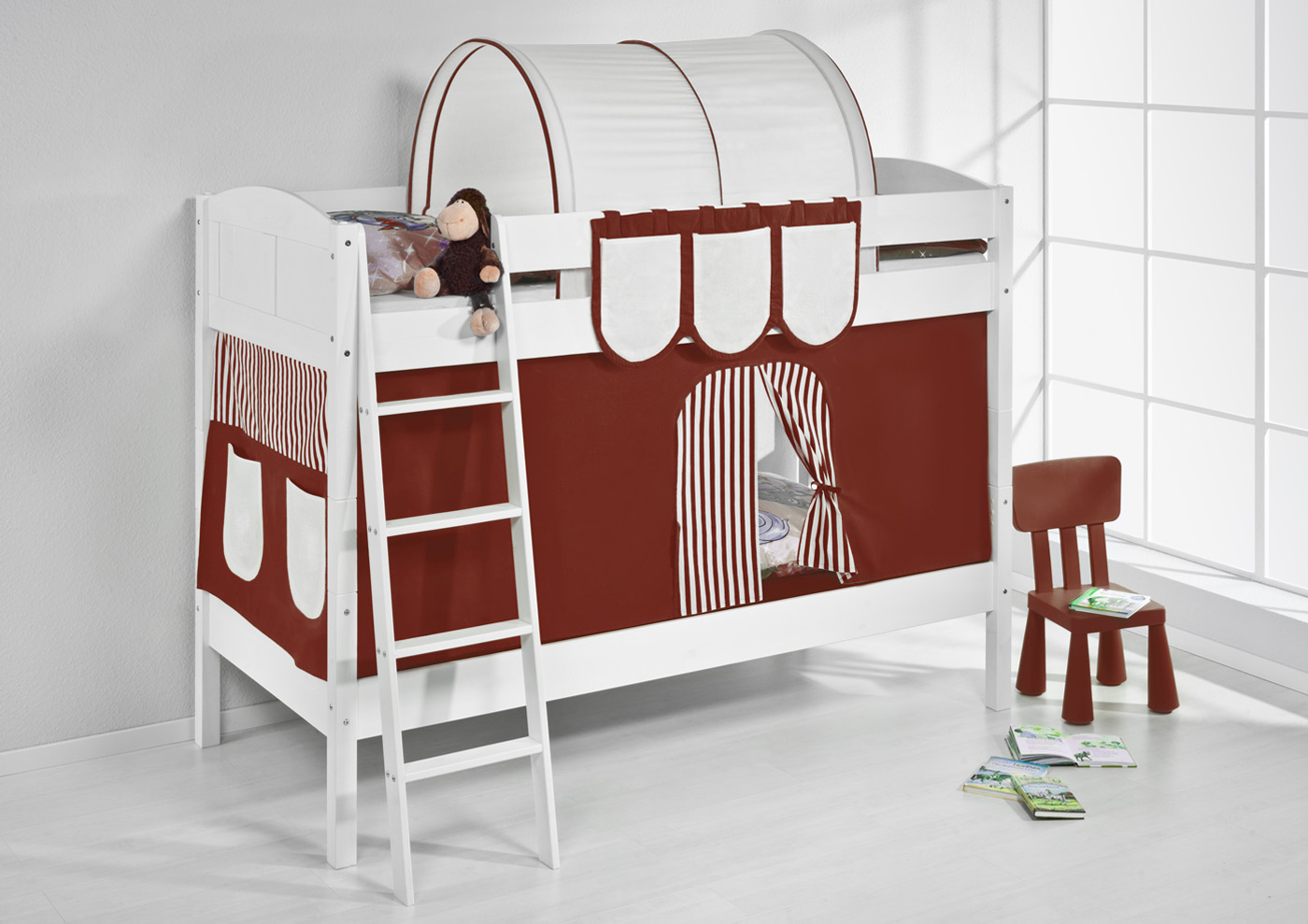 etagenbett hochbett kinder bett aus massiver kiefer ida 4106 wei vorhang ebay. Black Bedroom Furniture Sets. Home Design Ideas