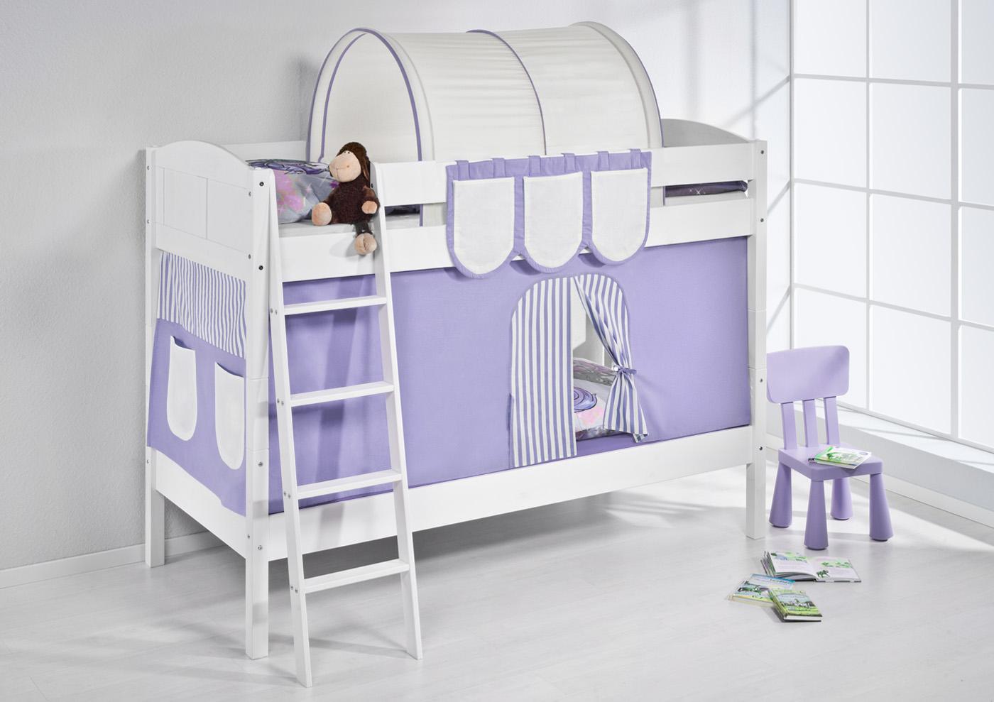 Etagenbett Hochbett Kinder Bett Aus Massiver Kiefer Ida 4106 Weiss