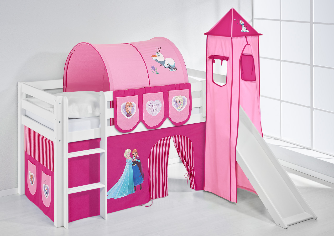 spielbett hochbett kinderbett kinder bett jelle mit turm. Black Bedroom Furniture Sets. Home Design Ideas