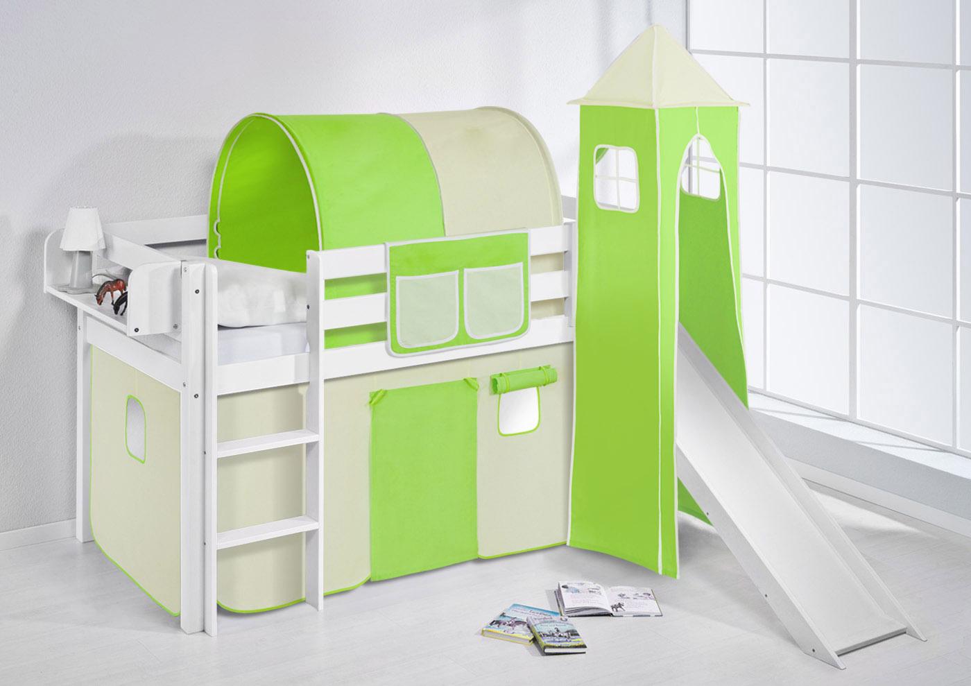 spielbett hochbett kinderbett kinder bett jelle mit turm und rutsche vorhang ebay. Black Bedroom Furniture Sets. Home Design Ideas