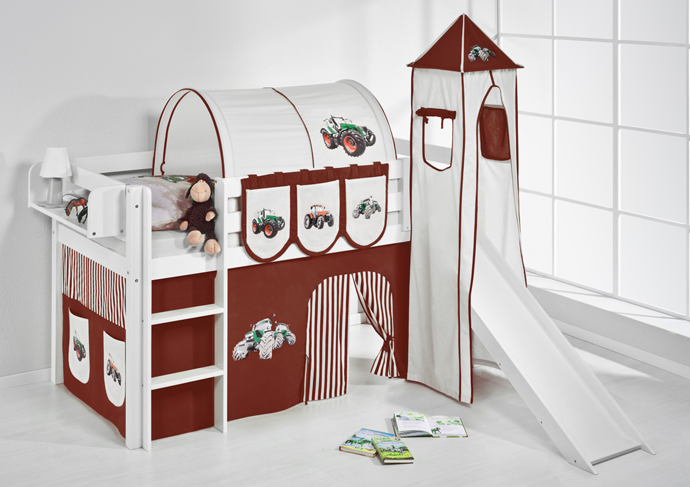 lit mezzanine avec echelle toboggan et tour by lilokids ebay. Black Bedroom Furniture Sets. Home Design Ideas