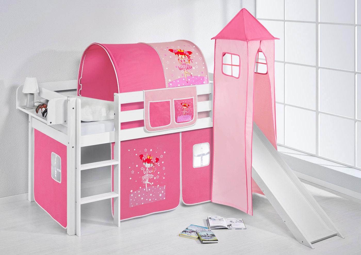 Ikea Corner Cabinet Glass Door ~   Hochbett Kinderbett Kinder Bett JELLE mit Turm und Rutsche + Vorhang
