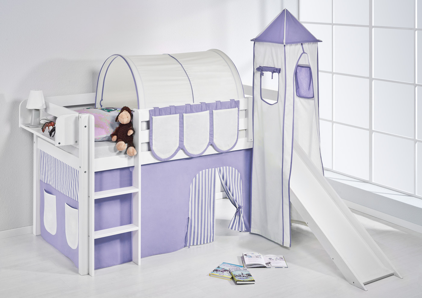 spielbett hochbett kinderbett jelle weiss mit turm rutsche vorhang lilokids ebay. Black Bedroom Furniture Sets. Home Design Ideas