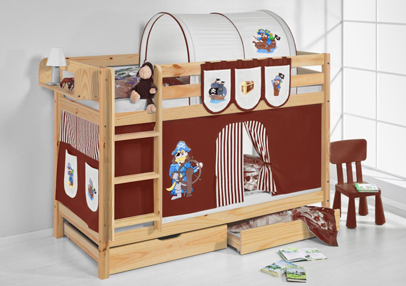 etagenbett hochbett kinder bett aus massiver kiefer jelle natur vorhang ebay. Black Bedroom Furniture Sets. Home Design Ideas