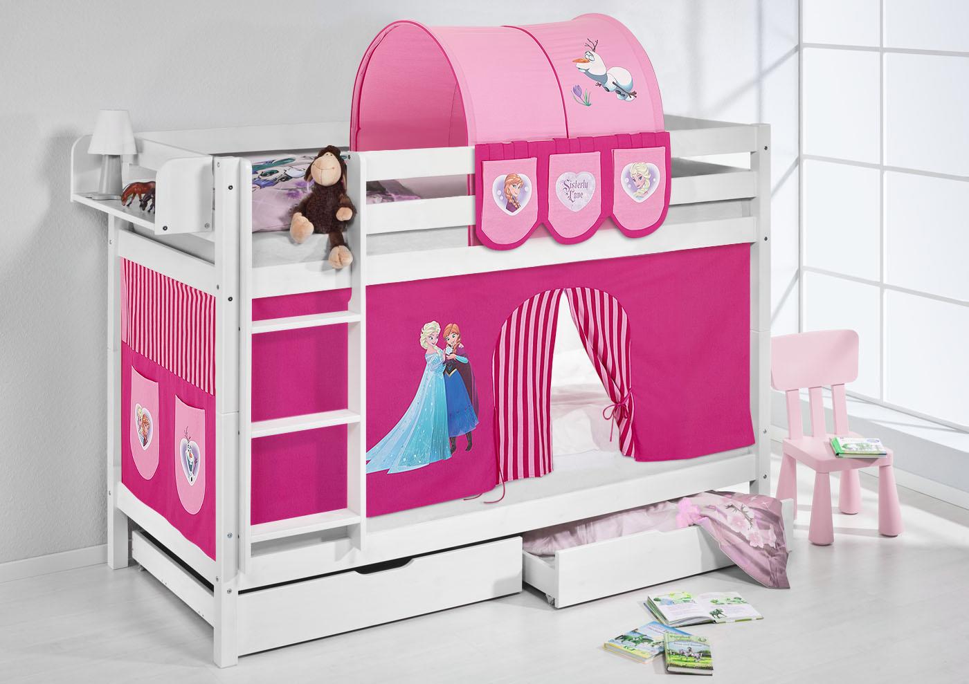 Lits superpos s mezzanine de lit enfants lit en massif pin jelle blanc rideau ebay - Rideau lit superpose ...