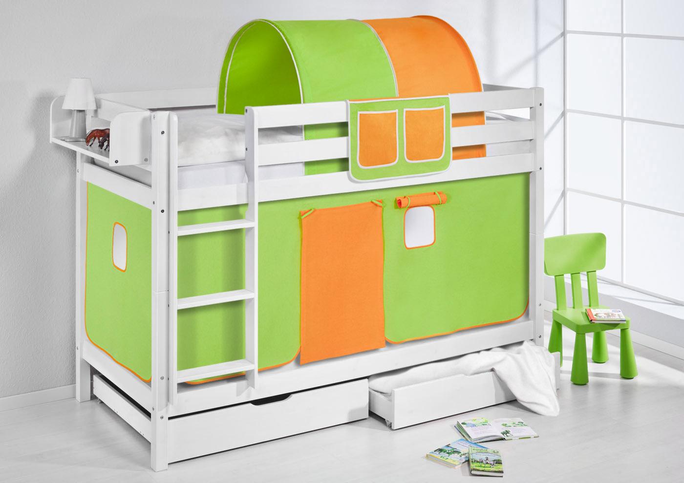etagenbett hochbett kinder bett aus massiver kiefer jelle wei vorhang ebay. Black Bedroom Furniture Sets. Home Design Ideas