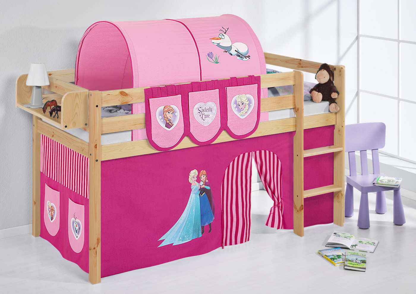 spielbett hochbett kinderbett kinder bett jelle natur vorhang ebay. Black Bedroom Furniture Sets. Home Design Ideas