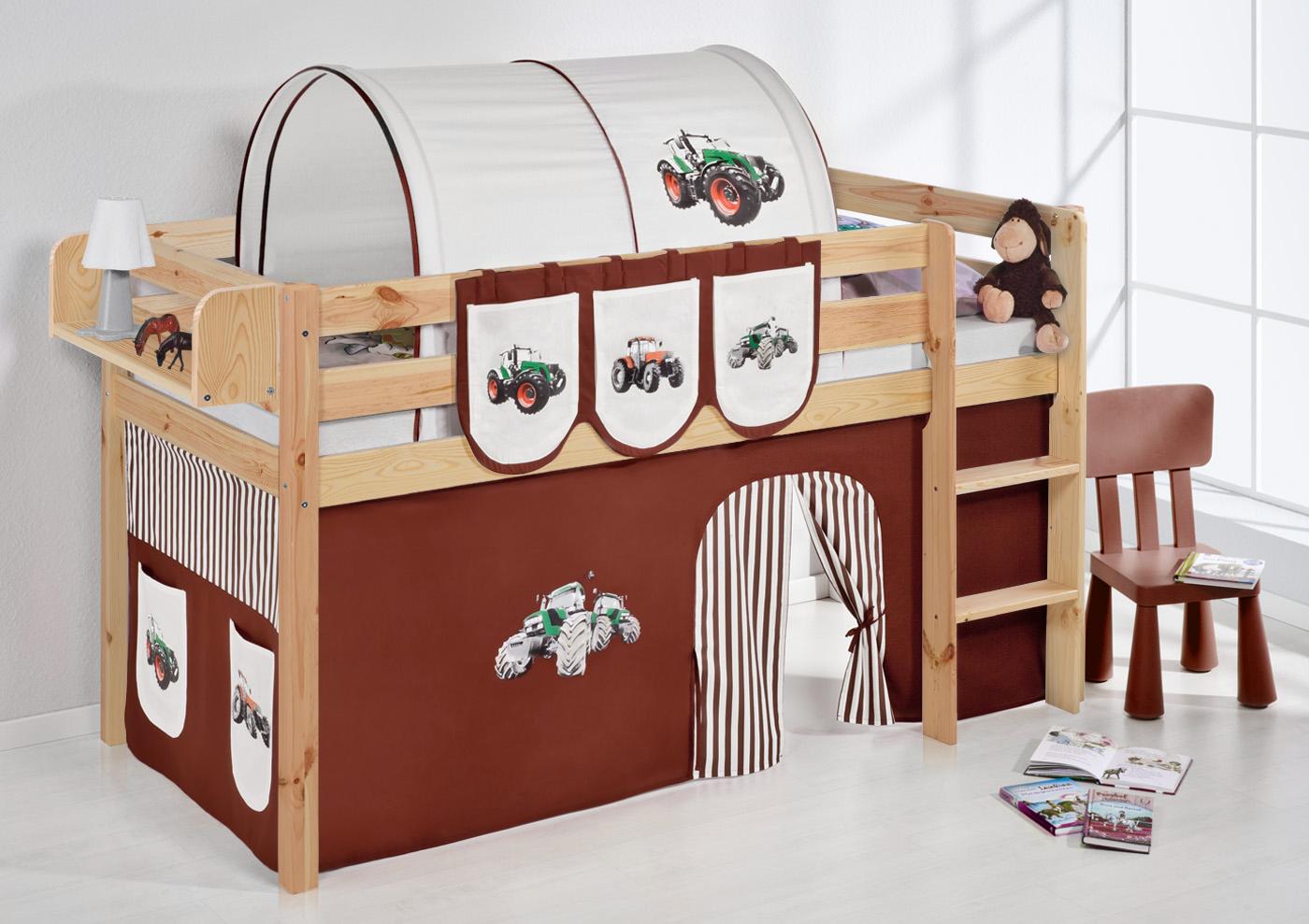 spielbett hochbett kinderbett kinder bett jelle natur vorhang ebay. Black Bedroom Furniture Sets. Home Design Ideas