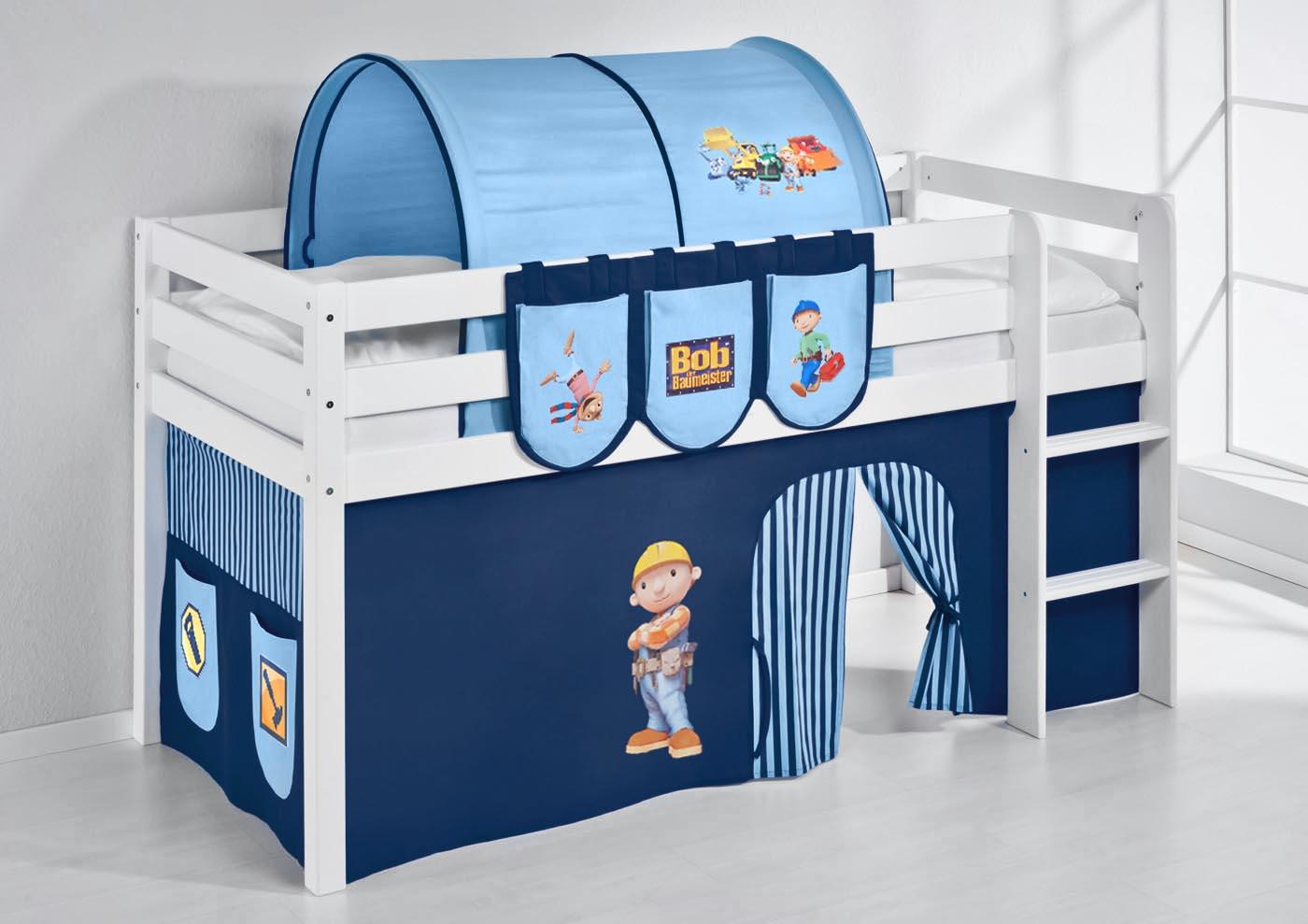 spielbett hochbett kinderbett jelle mit vorhang neu. Black Bedroom Furniture Sets. Home Design Ideas