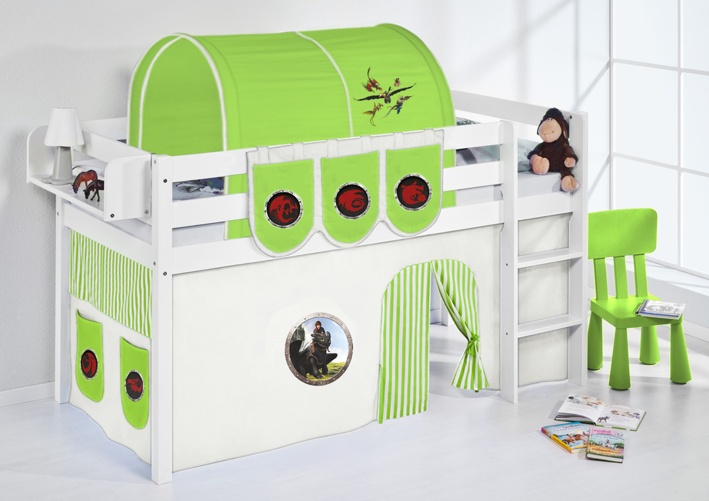 spielbett hochbett kinderbett jelle 190x90 weiss mit vorhang lilokids ebay. Black Bedroom Furniture Sets. Home Design Ideas