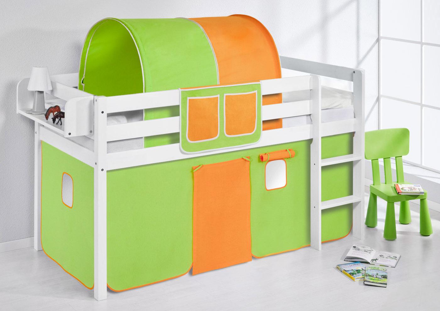 spielbett hochbett kinderbett jelle mit vorhang neu lilokids ebay. Black Bedroom Furniture Sets. Home Design Ideas