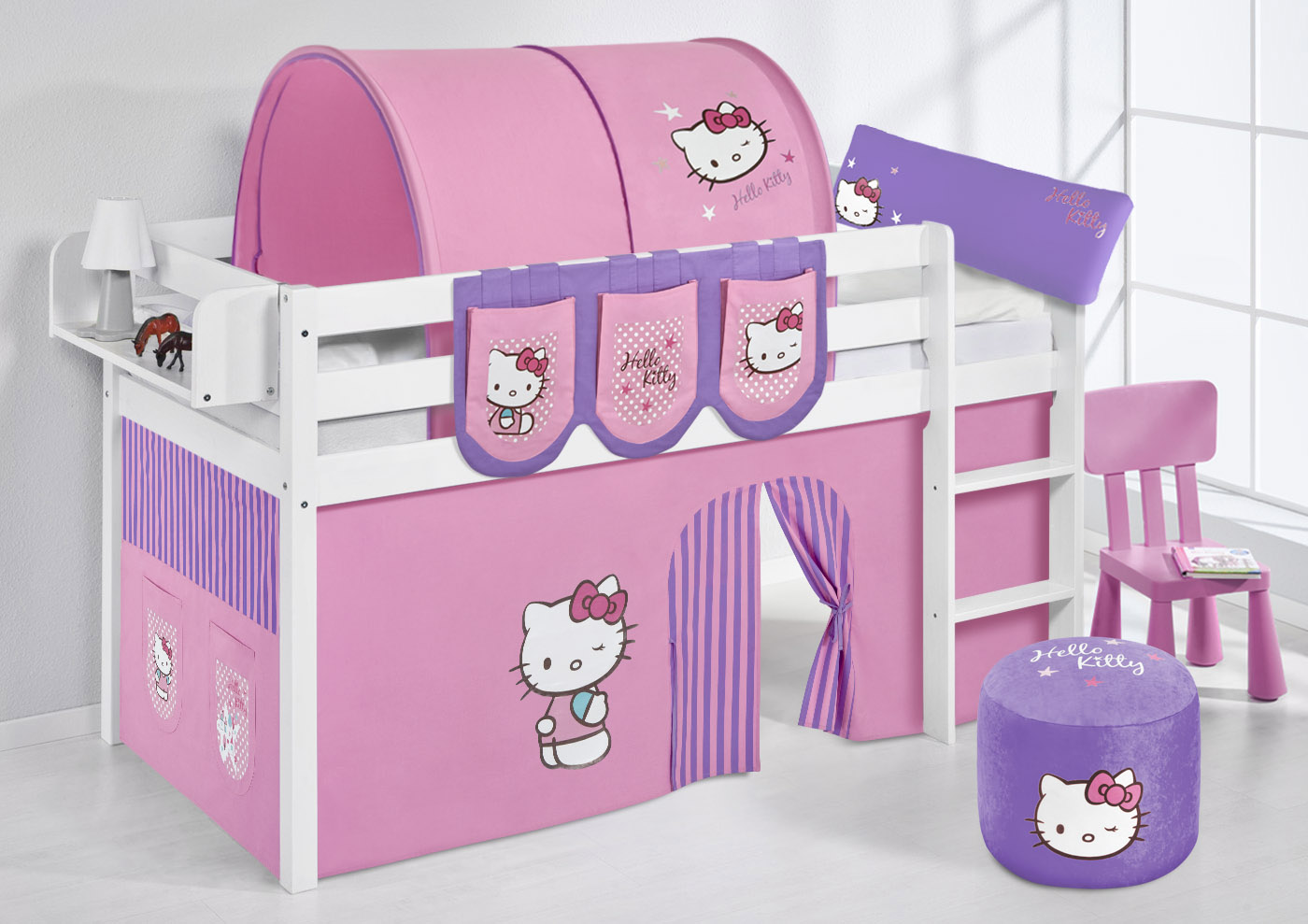 spielbett hochbett kinderbett kinder bett jelle vorhang nach wahl ebay. Black Bedroom Furniture Sets. Home Design Ideas