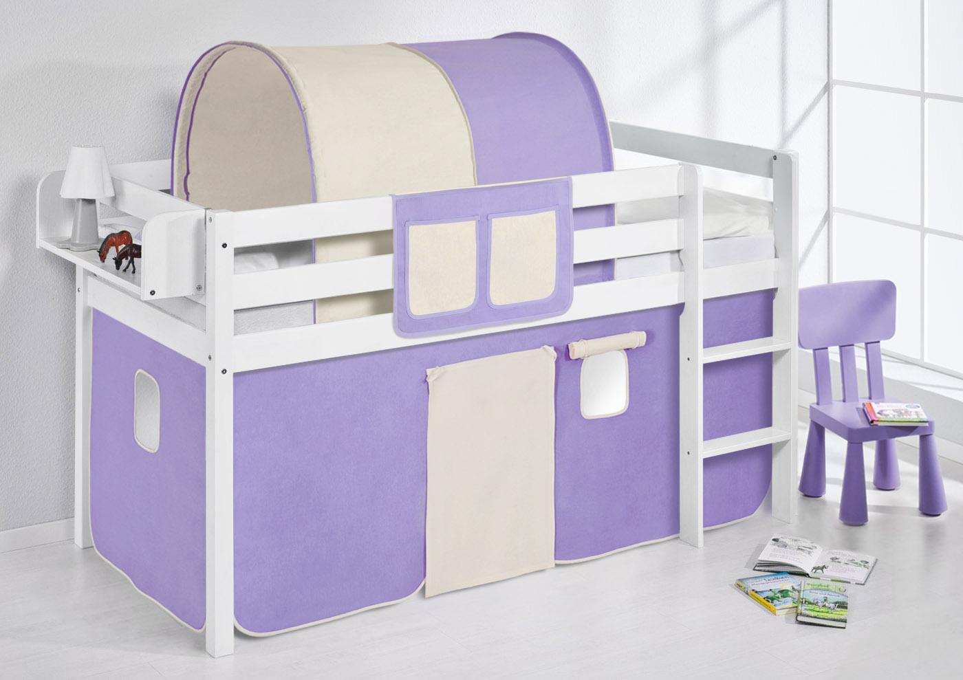 Lit enfants mezzanine lit blanc avec un rideau lilokids ebay - Rideau lit mezzanine ...