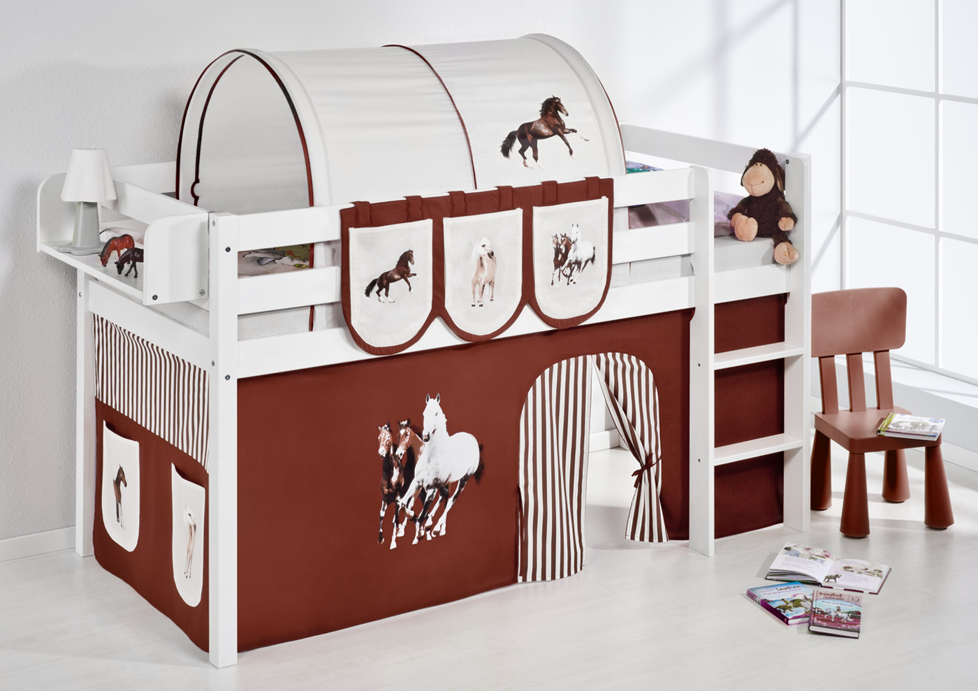 spielbett hochbett kinderbett kinder bett jelle vorhang. Black Bedroom Furniture Sets. Home Design Ideas