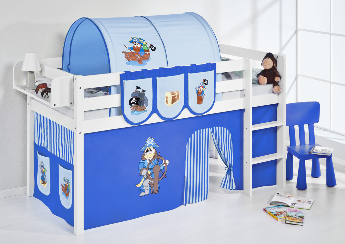 spielbett hochbett kinderbett kinder bett jelle 190x90 cm vorhang nach wahl ebay. Black Bedroom Furniture Sets. Home Design Ideas