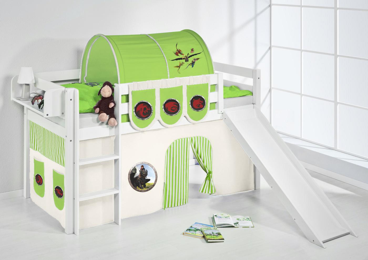 spielbett hochbett kinderbett jelle weiss mit rutsche vorhang lilokids ebay. Black Bedroom Furniture Sets. Home Design Ideas