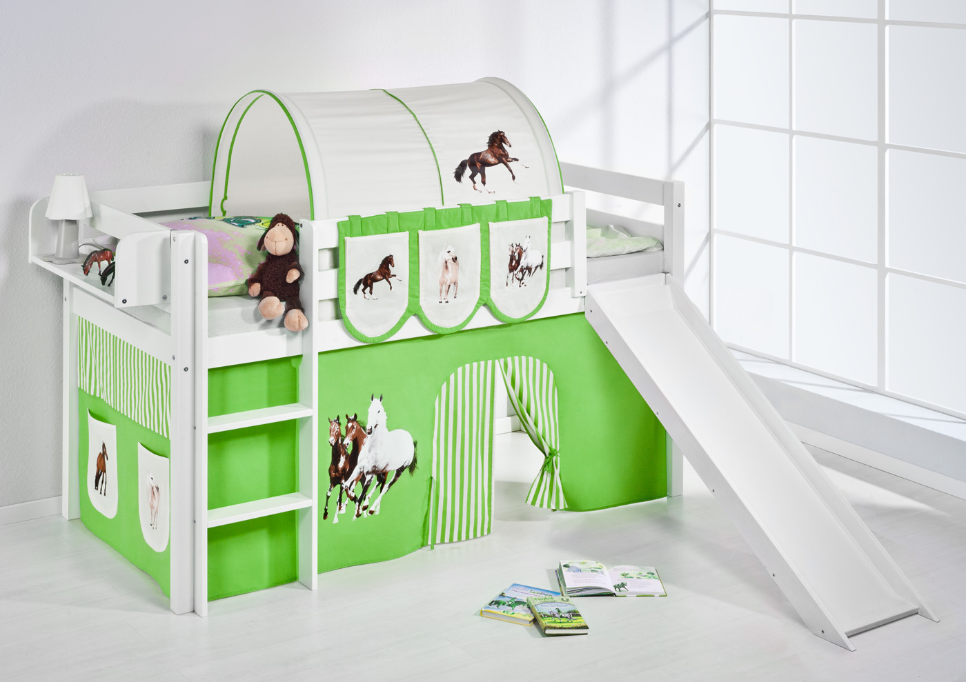 spielbett hochbett kinderbett kinder bett jelle mit rutsche vorhang ebay. Black Bedroom Furniture Sets. Home Design Ideas